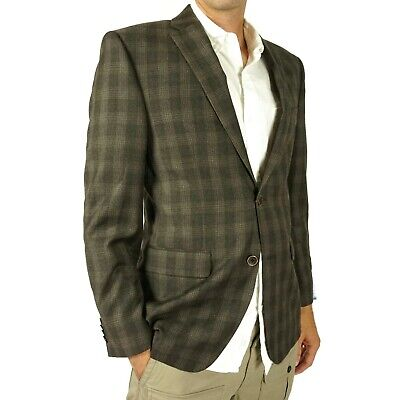 Vince Camuto Mens Blazer Coat Sz 38R Modern Fit 100% Wool Brown Plaid Two Button