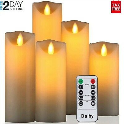 Flameless Candles Moving Wick LED 10-Key Remote Control Decoration Wax Set Of 5