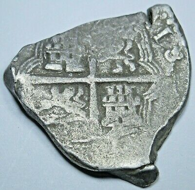 1600's Spanish Silver 2 Reales Piece of 8 Real Two Bit Pirate Treasure Cob Coin
