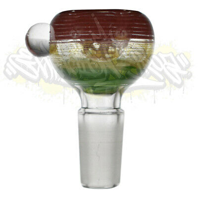 Rasta Color Bubble Glass on Glass Marble Art Slide Bowl 14mm 18mm