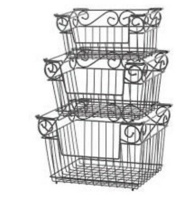 Princess House Meridian Stacking Storage Baskets