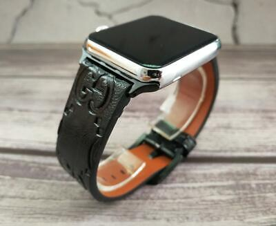 Designer Apple watch band GG iwatch strap for series 1 2 3 4 5 Black leather