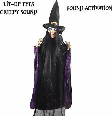 "JOYIN Life Size 74"" Hanging Animated Witch with LED Eyes and Spooky Sounds for H"