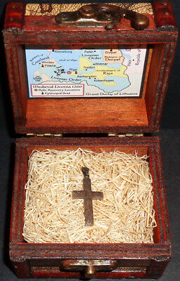 Vintage European Sterling Silver Holy Cross Pendant Relic with Display Chest