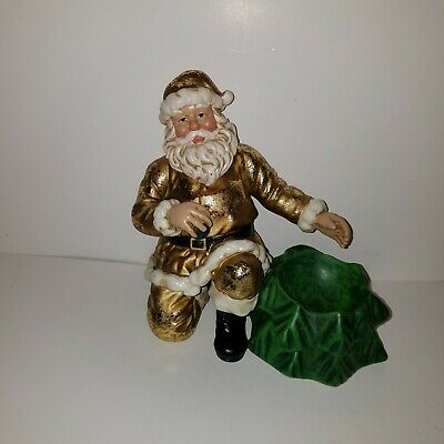 Department 56 Gold Flake Santa Claus Figurine w/Small Bowl attached 8 inch
