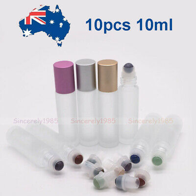 10X 10ml Frosted Clear Glass Roll On Bottles Gemstone Roller for Essential Oils