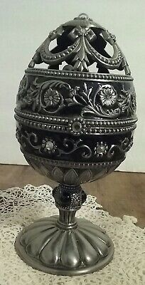 Black Musical Jeweled Faberge egg style with white jeweled swan