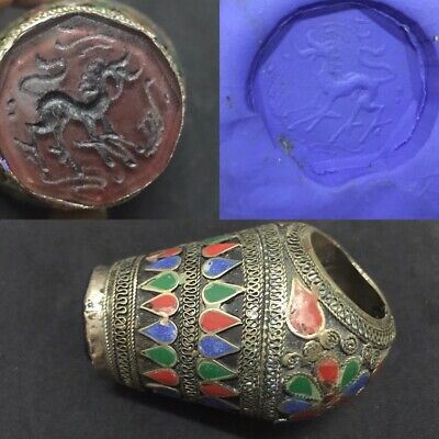 Large Ring Stamp Central Asia Agate Carnelian Intaglio Animal Sign Lapis Coral