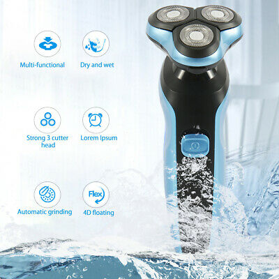 Electric Shaver Rotary Rechargeable 4D Triple Floating Head Wet Dry Razor Mens A