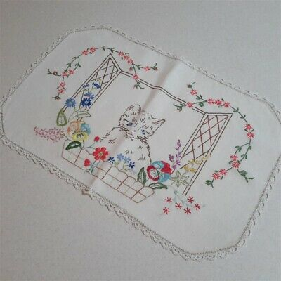 Gorgeous Vintage Hand Embroidered Cute Cat in Window Floral Centrepiece Doily