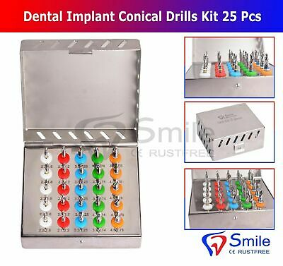 Dental Implant Conical Drills Kit with Integral Stoppers - 25 Stopper Drills Kit
