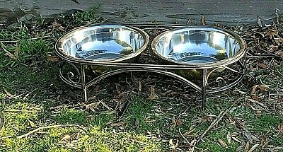 antique XXXL double raised bowls for medium and large dogs. . Wrought iron New