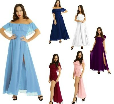 Women's Bridesmaid Dress Maxi Chiffon Evening Party Ball Gown Off Shoulder Prom