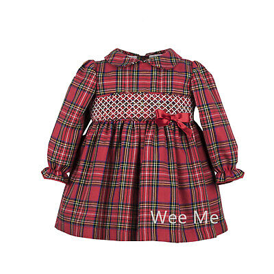 *SALE* Gorgeous Baby Girl Spanish Red Tartan Long Sleeve Smocked Collar Dress