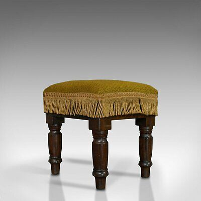 Antique Footstool, English, Mahogany, Stool, Upholstered, Victorian, Circa 1880