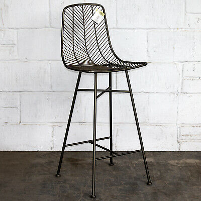 Rustic Bar Stool Vintage Metal Industrial Design Wire Seat High Chair Retro Cafe