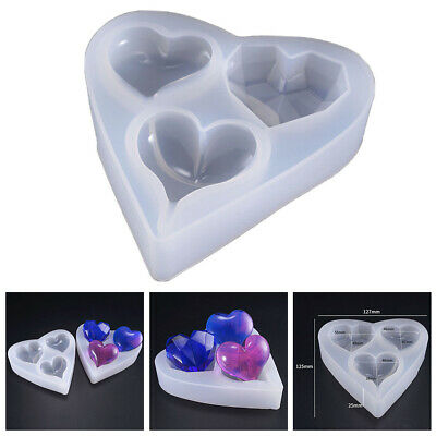 3D Love Heart Silicone Mold  Crystal Epoxy Jewelry Making Pendants Resin Mould