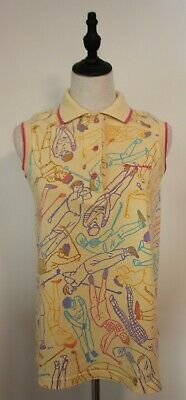 VINTAGE 1980'S KEN DONE ~ Yellow Pink Blue Golfers Print Sleeveless Polo Top M