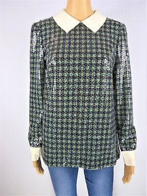 Prada green & yellow print sequins sparkly long sleeve top size UK12/US8