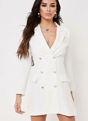 MISSPAP White Button Embellished Blazer Dress Brand New With Tags Size 8