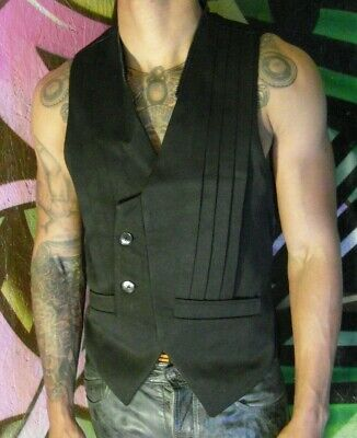Mens Junky London Medium Recycled Upcycled Black Hooded Waistcoat Medium