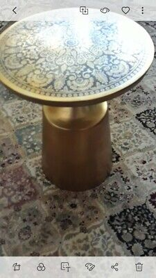Art Deco Etched Top Metal SideTable..... Beautiful