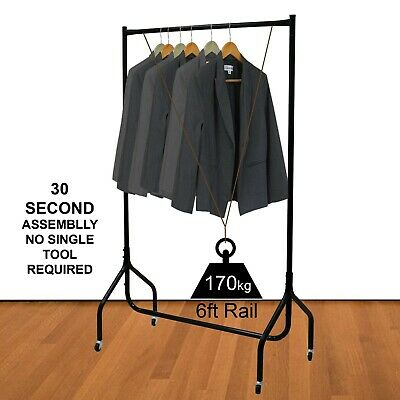 Heavy Duty Cloth Rail Home Retail Hanging Display Portable Rack 3ft 4ft 5ft 6ft