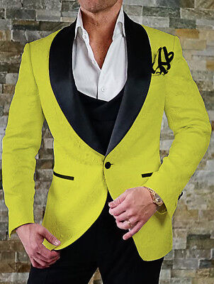 Men Yellow Jacquard Paisley Groom Tuxedos Wedding Suit Prom Party Dinner Suit