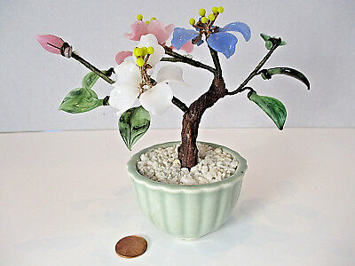 Vtg Jade Glass Bonsai Tree Chinese Japanese Art Oriental Flower Blossoms 5-1/2""