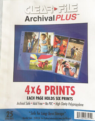 25 sheet pack for storing 4x6 prints, ClearFile Archival Plus.