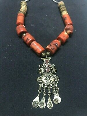 Beautiful Late Egyptian Abu Simbel Silver Pendant With Stones Coral Wood