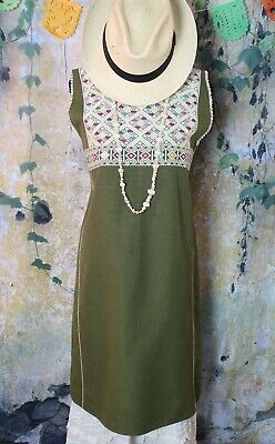 S/M Jumper Dress Huipil Hand Woven Olive Green & Cream Mayan Chiapas Mexico Boho