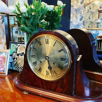 1920-30's Large Flame Mahogany Regency Style 8 Day Mantle Clock