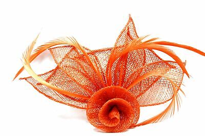 Coral fascinator with hessian rose flower, petals, and feather tendrils  (bea...