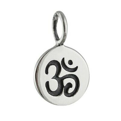 4 Sterling Silver Shiny Hollow OM OMH Circle Charm for Yoga Meditaion 925 Silver