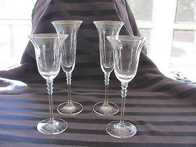 Mikasa Crystal Optic Flair 2 Flutes & 2 Wine - New With Stickers