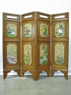 """Vintage Four Panel Teak Screen With Handpainted Inset Leather Panels 70"""" tall"""