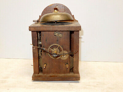 Antique Wood And Brass Wag On The Wall Clock With Weights