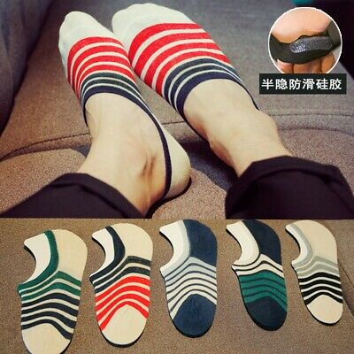 5 Pairs Men  Invisible Low Cut No Show Footlet Socks Cotton Rich No-Slip