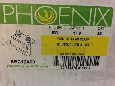"(25) Phoenix Strut To Beam Clamp Sq Ubolt 1 3/16 & 1 5/8  ""Made In The Usa"""