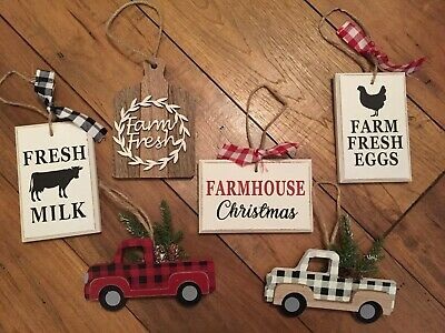 Country Farmhouse Red Truck Buffalo Check Cow Chicken Christmas Ornaments Sign