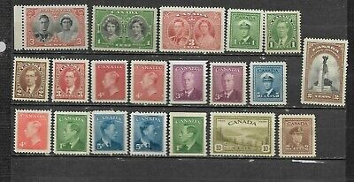 pk46157:Stamps-Canada Lot of 20 Assorted Older Issues - Mint Never Hinged