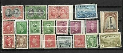 pk46168:Stamps-Canada Lot of 20 Assorted Older Issues - Mint Never Hinged