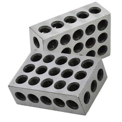 """1 Matched Pair Ultra Precision 1-2-3 Blocks 23 Holes .0001"""" Machinist 123 Jig"""
