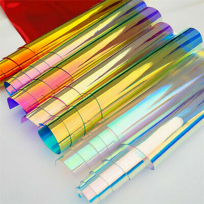 7pcs Transparent PVC Iridescent Magic Mirror Multicolor Fabric Vinyl Holographic