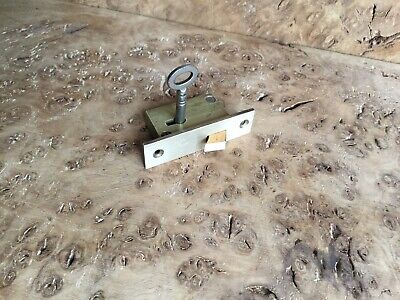 "Vintage Solid Brass Cupboard Door Lock 2 1/4"" X 5/8"" X 1"" Depth With One Key"