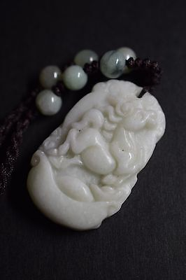 .Chinese Zodiac  Necklace,Hand Carved Jade,Year Of Horse
