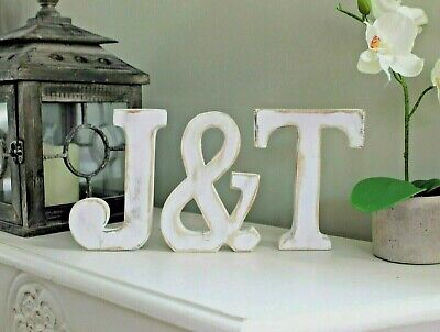 "3 X Large Shabby Chic White Wooden Letters Initials And ""&"" Sign Wedding Decor"