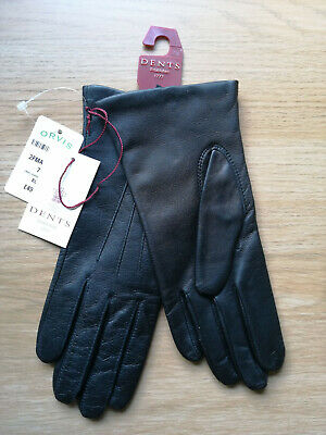 Dents Ladies Leather Gloves Black size 7 1/2 Small Fleece Lined New