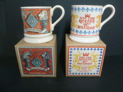 2 Emma Bridgewater Half Pint Mugs The Queens 90Th Birthday *Boxed*